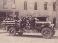 Firefighters on the Betsey fire engine